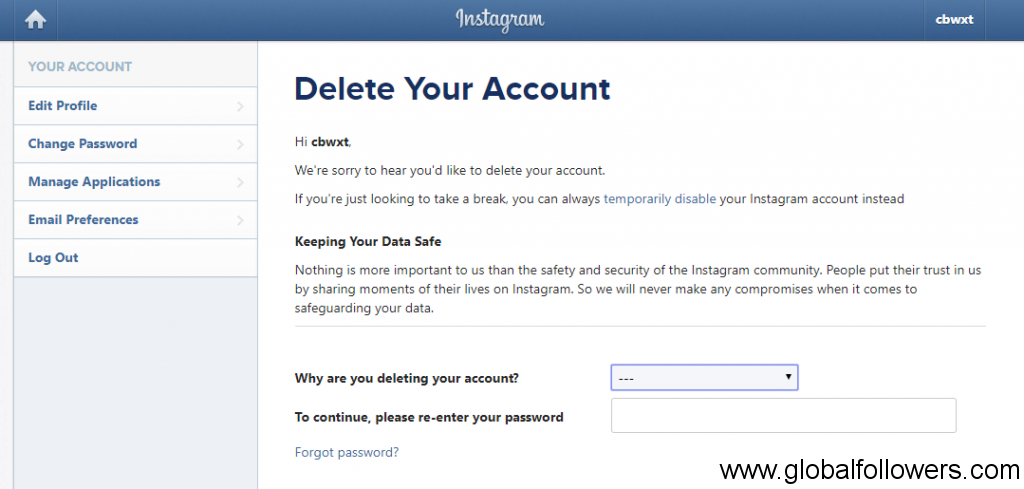 Delete an Instagram Account from PC